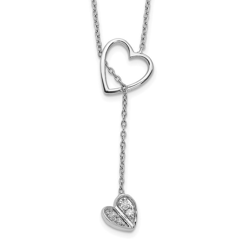 Quality Gold 14k White Gold Diamond Heart w/dangle 18 inch Necklace