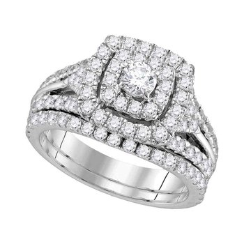 14kt White Gold Womens Round Diamond Double Square Halo Bridal Wedding Engagement Ring Band Set 1-7/8 Cttw