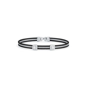 Black & Grey Cable Classic Stackable Bracelet with Double Square Station set in 18kt White Gold