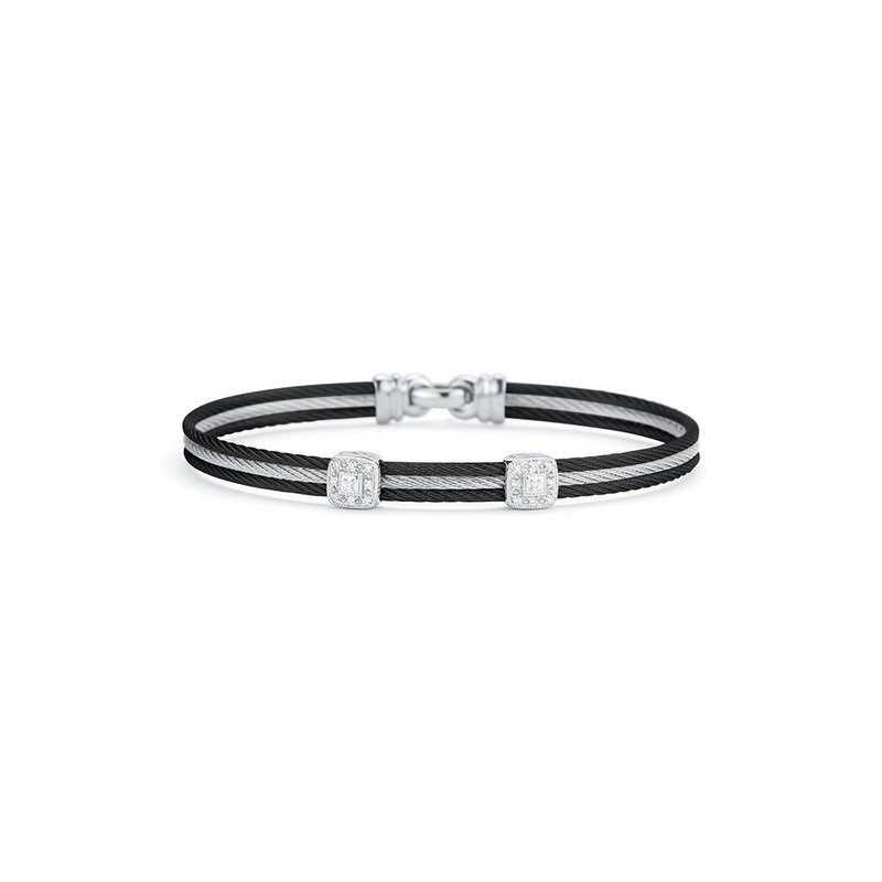 ALOR Black & Grey Cable Classic Stackable Bracelet with Double Square Station set in 18kt White Gold