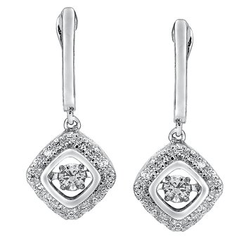Dancing Diamond Cushion-Shaped Earrings in 14K White Gold