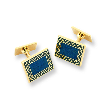 18 Karat Gold Greek Key Cufflinks-Blue