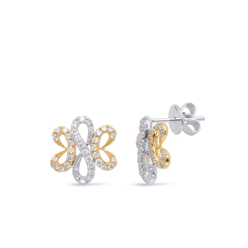 Briana White & Yellow Gold Diamond Earring