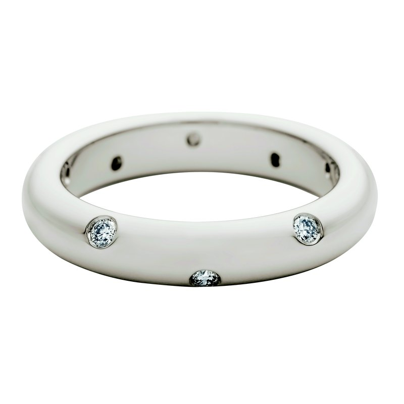 per Amoré Plain polished band with diamonds