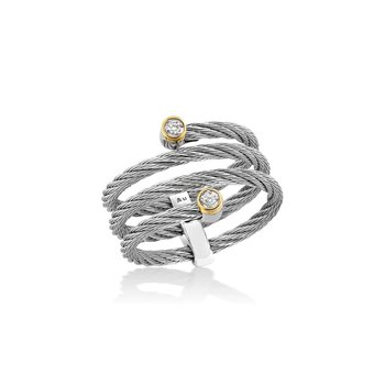 Grey Cable Flex ring with 18kt Yellow Gold & Diamonds