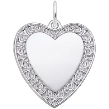 Heart Charm with Scroll Edge