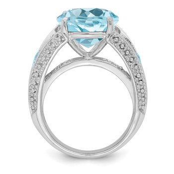 Sterling Silver Rhodium Lt. Swiss Blue Topaz Ring