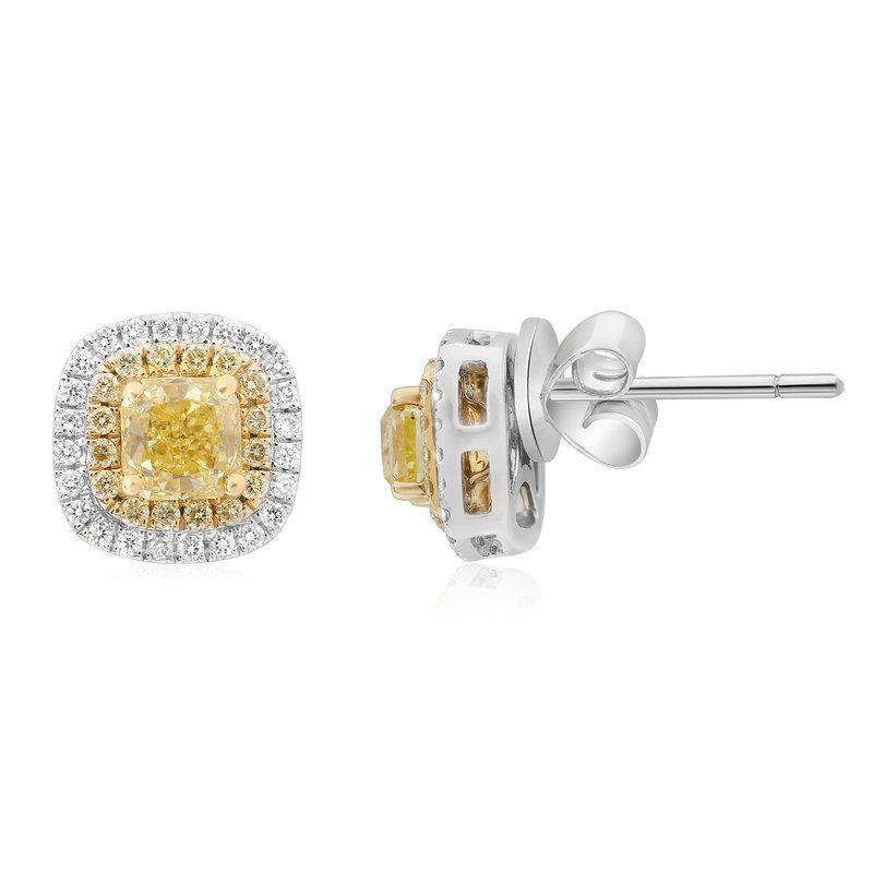 Roman & Jules Two Tone Cushion Cut Diamond Earrings