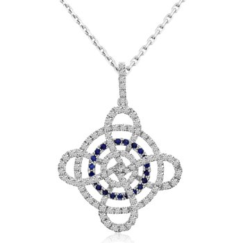 14k White Sapphire and Diamond Swirl Pendant