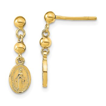 14k Polished Miraculous Medal Dangle Post Earrings