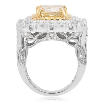 Triple Halo Fancy Yellow Diamond Ring