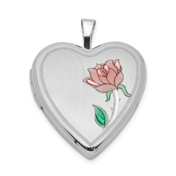 Sterling Silver Rhodium-plated 20mm Enameled Flower Heart Locket