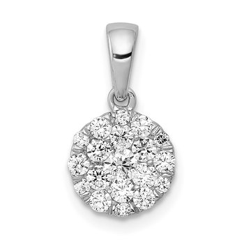 14k White Gold 1/2ct. Diamond Circle Cluster Pendant
