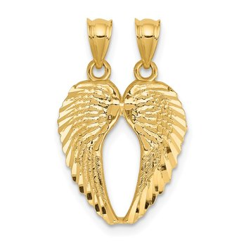 14k Yellow Gold Break Apart Diamond-cut Wings Pendant