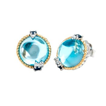 18kt and Sterling Silver Blue Topaz, Sapphire & Diamond Earrings
