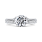 Carizza 14K White Gold Diamond Halo Engagement Ring with Euro Shank (Semi-Mount)