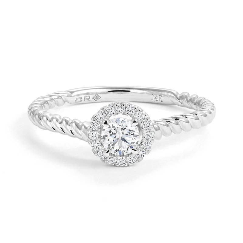 Canadian Rocks  Diamond Halo Engagement Ring with Twist