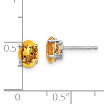 14k White Gold 7x5mm Oval Citrine Earrings