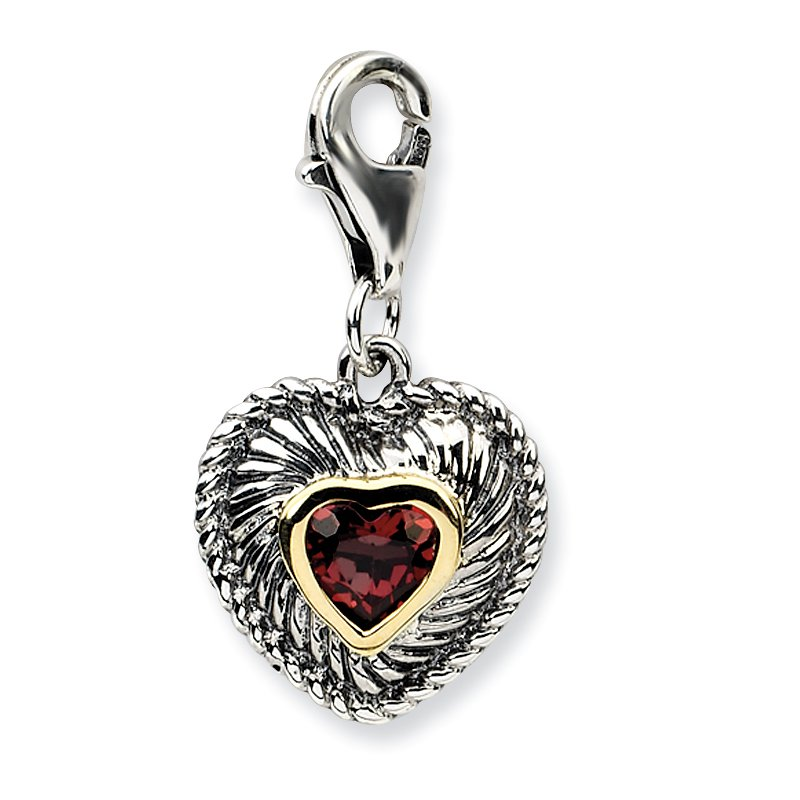 Shey Couture Sterling Silver w/14k Garnet Antiqued Charm