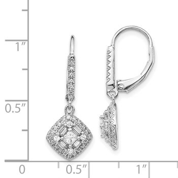 14k White Gold Diamond Leverback Earrings