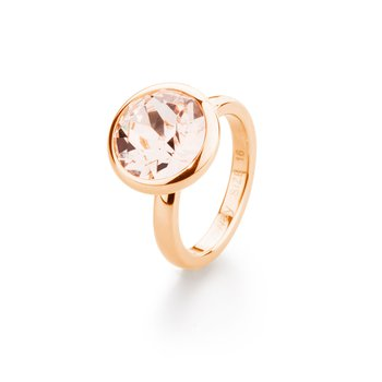 Charm - 316L stainless steel, rose gold pvd and light peach Swarovski® Elements crystal