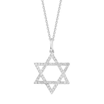 14K Jewish Star 56 Diamonds  0.23CT