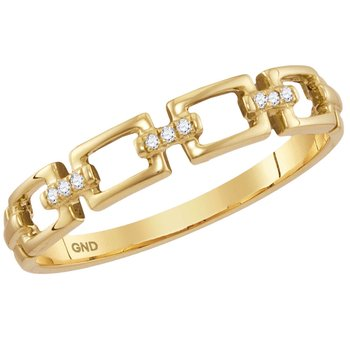 14kt Yellow Gold Womens Round Diamond Chain Link Stackable Band Ring .03 Cttw