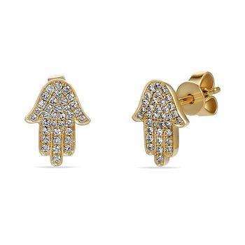 14K hamsa earrings with 70 diamonds 0.18CT