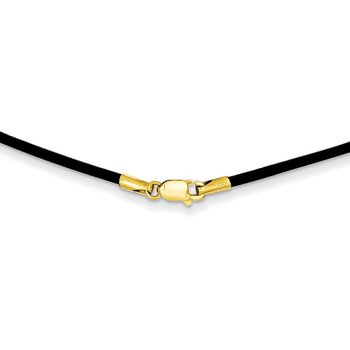 14k 1.6mm 16in Black Leather Cord Necklace