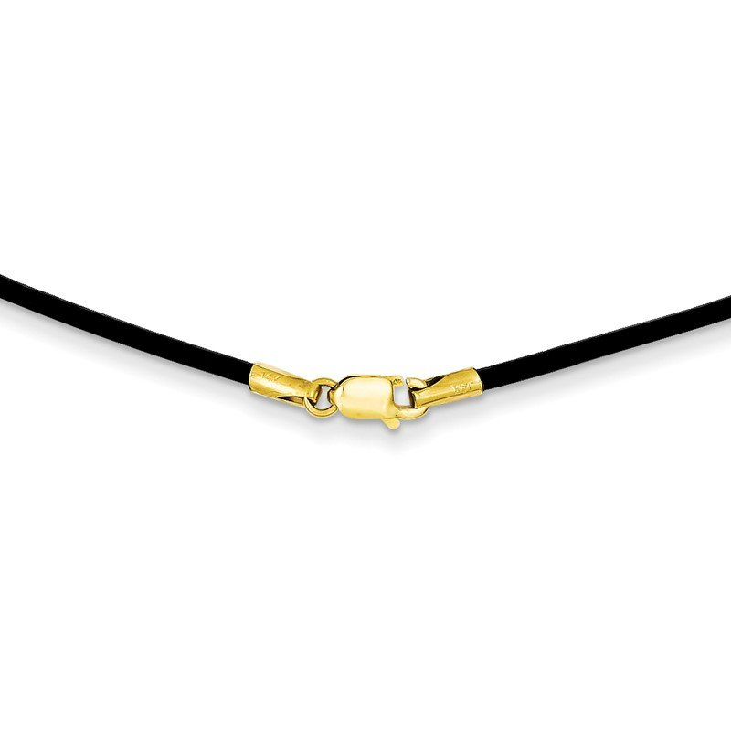 Quality Gold 14k 1.6mm 16in Black Leather Cord Necklace