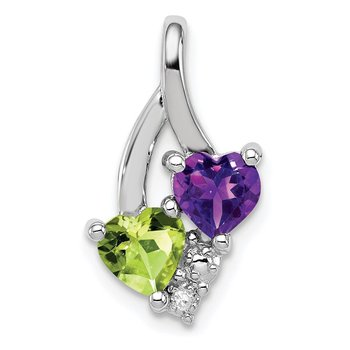 Sterling Silver Rhodium-plated Amethyst & Peridot Diamond Pendant