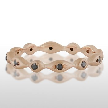 Ladie's Pink Gold Black Diamond Ring