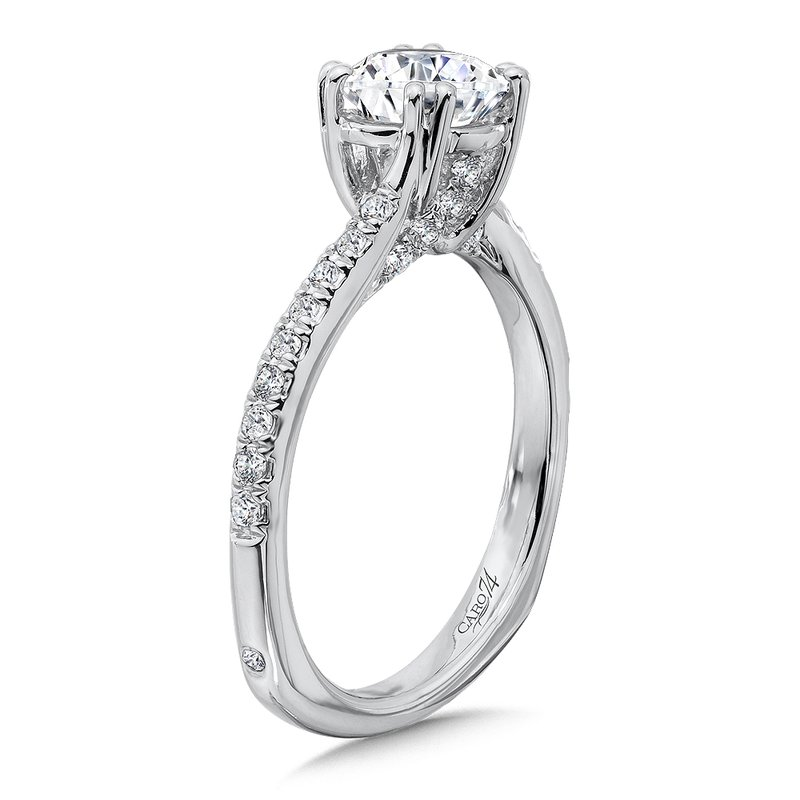 Criss Cross Engagement Ring with Double Prong Center in 14K White Gold (1ct. tw.)