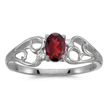 14k White Gold Oval Garnet And Diamond Ring