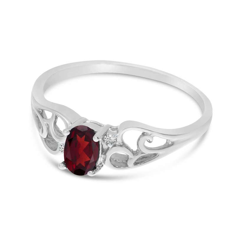 Color Merchants 14k White Gold Oval Garnet And Diamond Ring