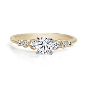 Engagement Ring with Milgrain Diamond Accents