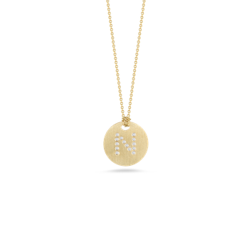 18Kt Gold Disc Pendant With Diamond Initial N