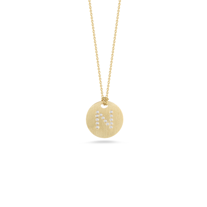 Roberto Coin 18Kt Gold Disc Pendant With Diamond Initial N