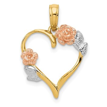 14K Two-tone and White Rhodium Polished Flower Heart Pendant