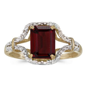 14k Yellow Gold Emerald-cut Garnet And Diamond Ring
