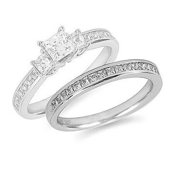 14K WG Diamond Wedding Band - Princess