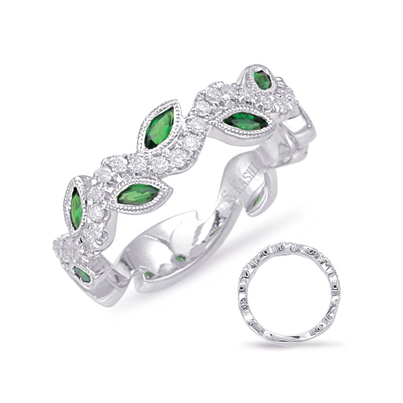 S. Kashi  & Sons White Gold Tsavorite & Diamond Ring