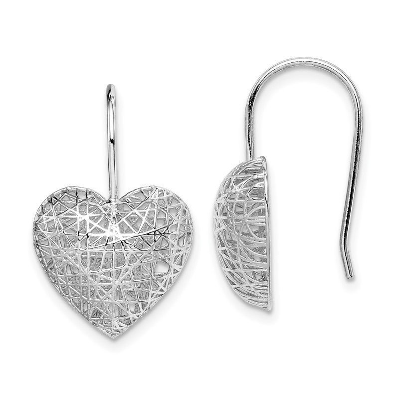 Quality Gold Sterling Silver Rhodium-plated Heart Dangle Earrings