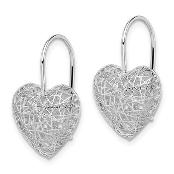 Sterling Silver Rhodium-plated Heart Dangle Earrings