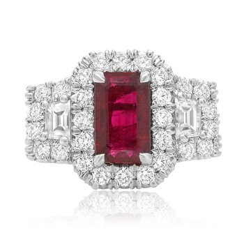 Ruby & Diamond Side Stone Ring