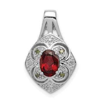 Sterling Silver Rhodium White/Green Diamond & Garnet Oval Pendant