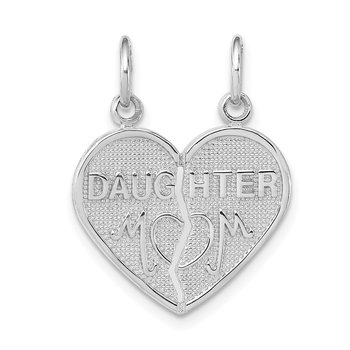 14k White Gold DAUGHTER-MOM Break-apart Heart Charm