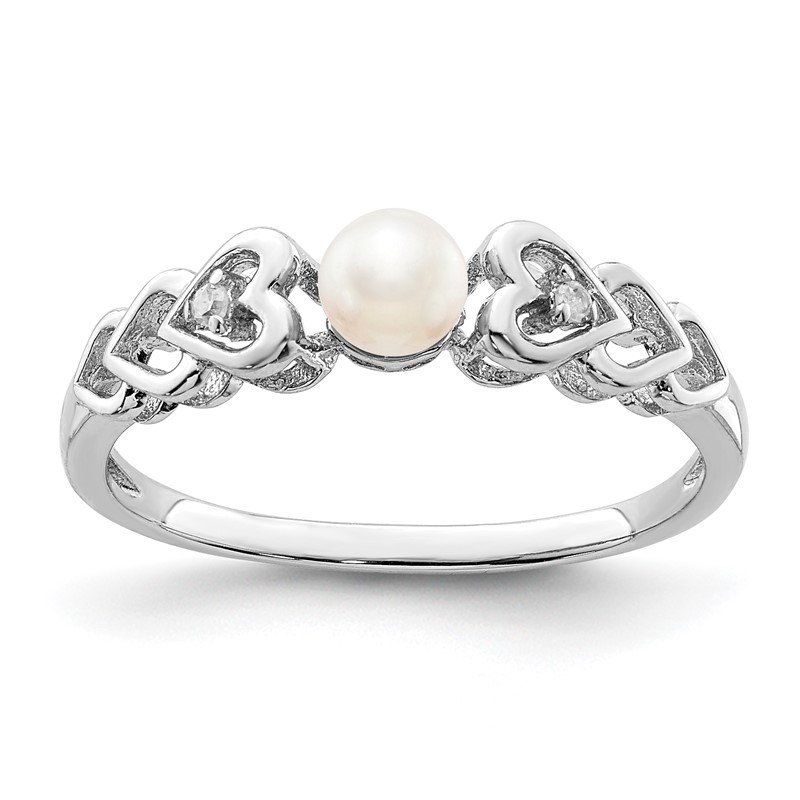 Quality Gold Sterling Silver Rhodium-plated FW Cultured Pearl & Diam. Ring
