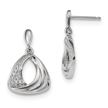 Sterling Silver & CZ Brilliant Embers Dangle Post Earrings