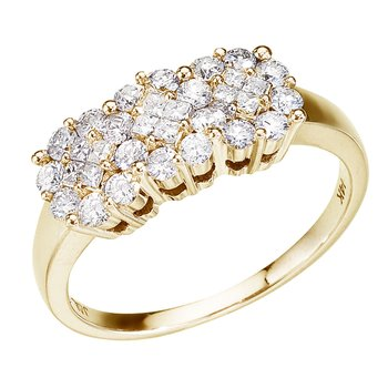 14K Yellow Gold .75 Ct Diamond Cluster Ring